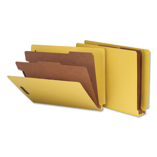 Deluxe Six-Section Colored Pressboard End Tab Classification Folders, 2 Dividers, Letter Size, Yellow, 10/Box