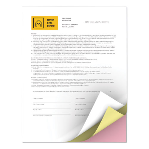 Revolution Carbonless 3-Part Paper, 8.5 x 11, White/Canary/Pink, 5, 000/Carton