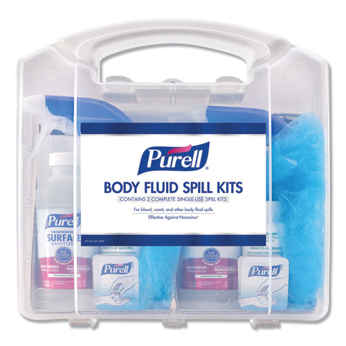 Body Fluid Spill Kit, 4.5 x 11.88 x 11.5, One Clamshell Case with 2 Single Use Refills/Carton