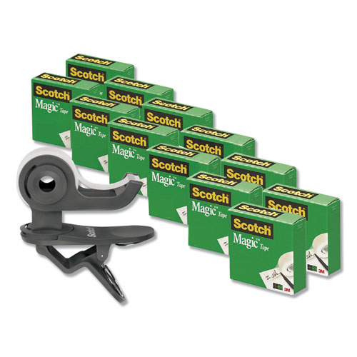 Clip Dispenser Value Pack, 1 Core, Charcoal, Plus 12 Tape Rolls 3/4 x 1000