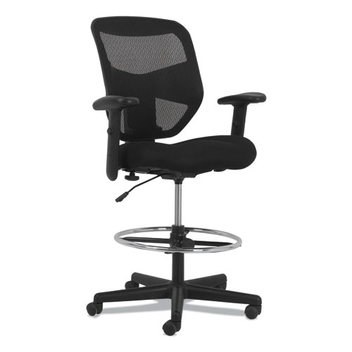 Prominent High-Back Task Stool, 28.1 Seat Height, Supports up to 250 lbs., Black Seat, Black Back, Black Base