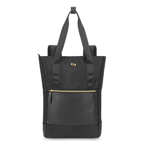 Parker Hybrid Tote/Backpack, Holds Laptops 15.6, 3.75 x 16.5 x 16.5, Black/Gold