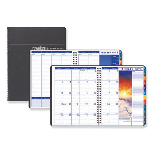 Recycled Earthscapes Weekly/Monthly Planner, 11 x 8 1/2, Black, 2020 | by Plexsupply