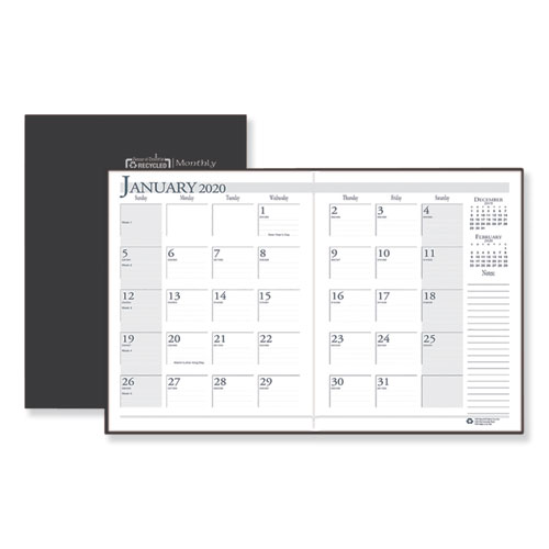 Recycled Ruled Planner with Stitched Leatherette Cover, 11 x 8 1/2, Black, 2019-2021   by Plexsupply