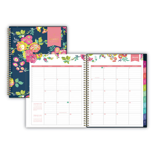 Blue Sky® Day Designer CYO Weekly/Monthly Planner, 11 x 8.5, Navy/Floral, 2021