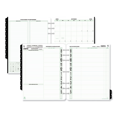 Original Two-Page-Per-Day Refill, 11 x 8 1/2, White/Green, 2020 | by Plexsupply