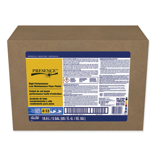 Presence High Performance Low Maintenance Floor Finish, 5 gal Bag-In-Box