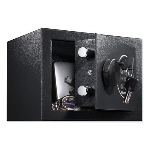 Electronic Security Safe, 0.14 cu ft, 9w x 6.6d x 6.6h, Black