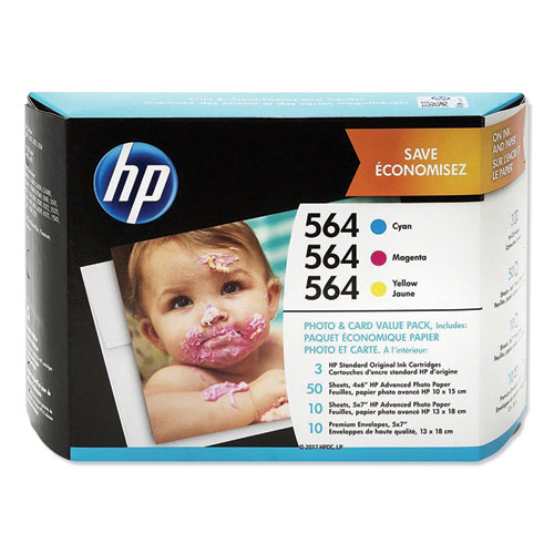 HP 564, (J2X80AN) Cyan/Magenta/Yellow Original Ink Cartridge w/Paper