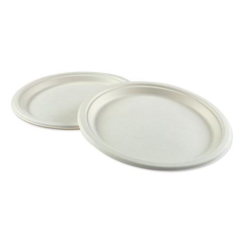 Bagasse Molded Fiber Dinnerware, Plate, 10 Diameter, White, 500/Carton