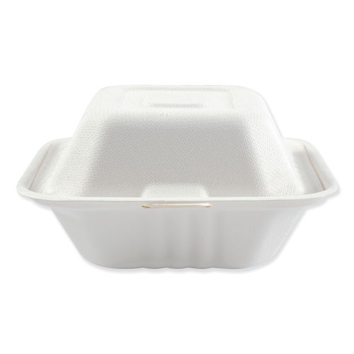 Boardwalk® Bagasse Food Containers, Hinged-Lid, 1-Compartment 6 x 6 x 3.19, White, 125/Sleeve, 4 Sleeves/Carton