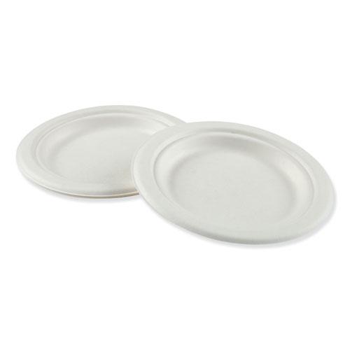 Bagasse Molded Fiber Dinnerware, Plate, 6 Diameter, White, 1,000/Carton