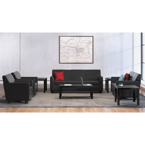 Circulate Leather Reception Three-Cushion Sofa, 73w x 28.75d x 32h, Black | by Plexsupply