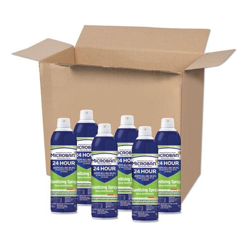 Microban® 24-Hour Disinfectant Sanitizing Spray, Citrus, 15 oz Aerosol Spray, 6/Carton