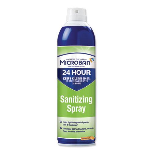 Microban® 24-Hour Disinfectant Sanitizing Spray, Citrus, 15 oz, 6/Carton