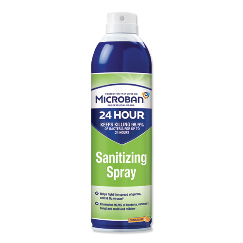 Microban® 24-Hour Disinfectant Sanitizing Spray, Citrus, 15 oz Aerosol Spray