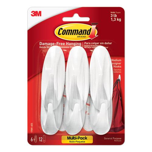 Designer Hooks, Plastic, White, 3 lb Cap, 6 Hooks and 12 Strips/Pack
