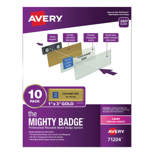 The Mighty Badge Name Badge Holder Kit, Horizontal, 3 x 1, Laser, Gold, 10 Holders/ 80 Inserts