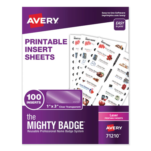 The Mighty Badge Name Badge Inserts, 1 x 3, Clear, Laser, 20/Sheet, 5 Sheets/Pack