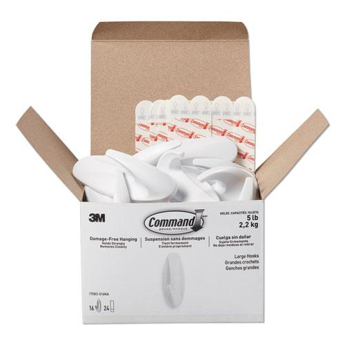 Designer Hooks, Plastic, White, 5 lb Cap, 16 Hooks and 24 Strips/Pack