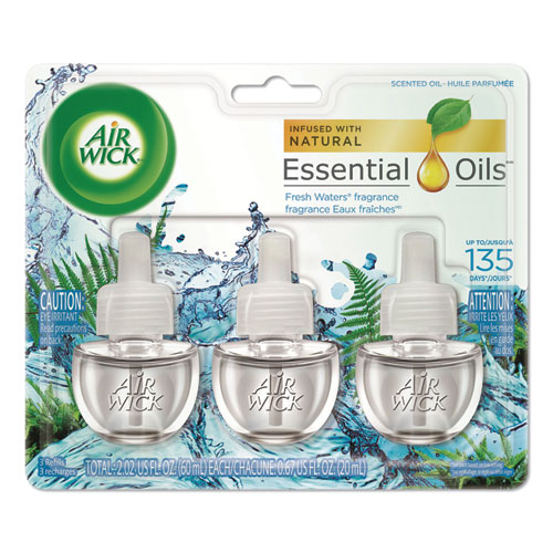 Scented Oil Refill, Fresh Waters, 0.67oz, 3/Pack, 6 Packs/Carton