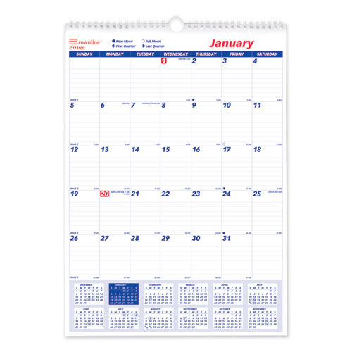 One Month Per Page Twin Wirebound Wall Calendar, 12 x 17, 2021