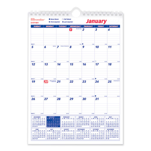 One Month Per Page Twin Wirebound Wall Calendar, 8 x 11, 2021
