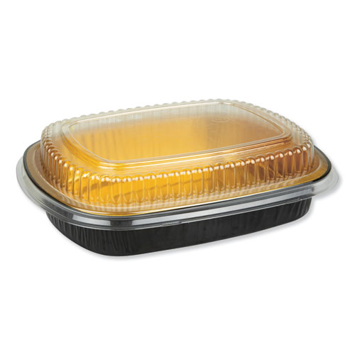 Aluminum Closeable Containers, 47 oz, 9.75 x 1.75 x 7.75, Black/Gold, 50/Carton