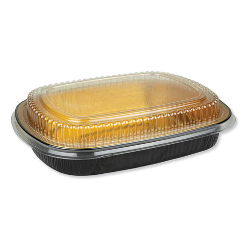 Aluminum Closeable Containers, 63 oz, 11.25 x 1.75 x 8.88, Black/Gold, 50/Carton