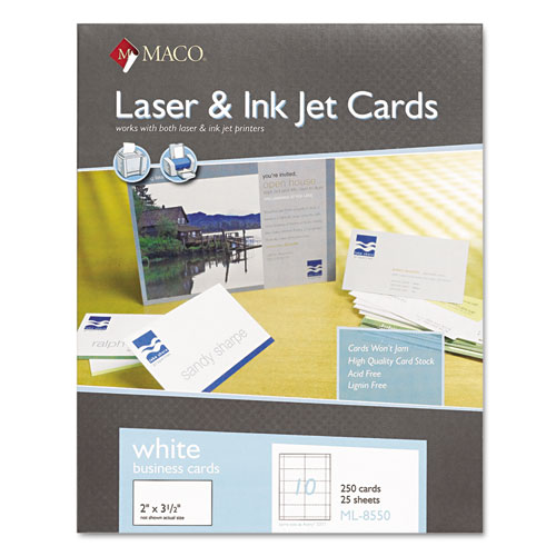 MACO® Microperforated Laser/Ink Jet Business Cards, 2 x 3 1/2, White, 250/Box