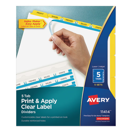 Print and Apply Index Maker Clear Label Dividers, 5 Color Tabs, Letter, 5 Sets | by Plexsupply