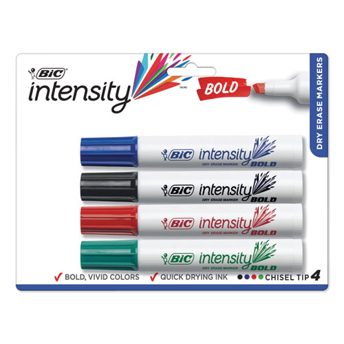 Intensity Bold Tank-Style Dry Erase Marker, Broad Chisel, Assorted Colors, 4/Set | by Plexsupply