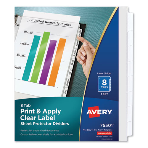Print and Apply Index Maker Clear Label Sheet Protector Dividers with White Tabs, 8-Tab, 11 x 8.5, Clear, 1 Set | by Plexsupply