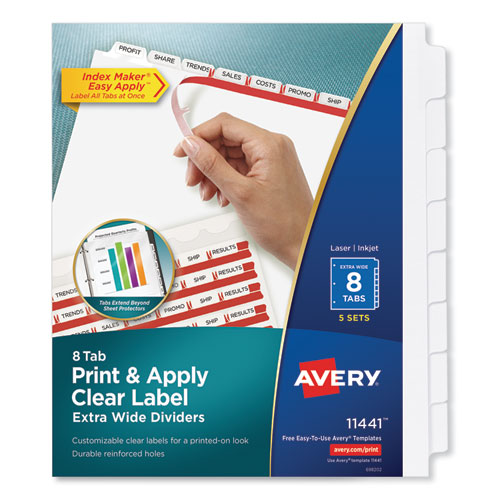 Print and Apply Index Maker Clear Label Dividers, 8 White Tabs, Letter, 5 Sets | by Plexsupply
