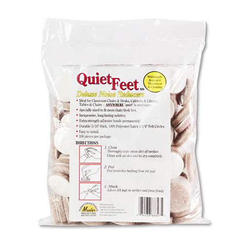 """Quiet Feet Deluxe Noise Reducers, 1.25"""" dia, Circular, Beige, 100/Pack"""
