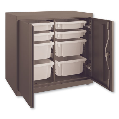Flagship Storage Cabinet with 4 Small and 4 Medium Bins, 30 x 18 x 28, Charcoal