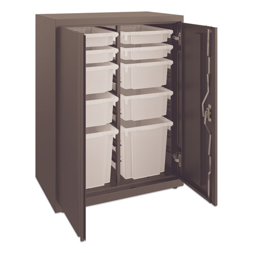 Flagship Storage Cabinet with 4 Small, 4 Medium and 2 Large Bins, 30 x 18 x 39.13, Charcoal