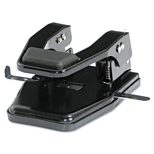 40-Sheet Heavy-Duty Two-Hole Punch, 9/32 Holes, Padded Handle, Black