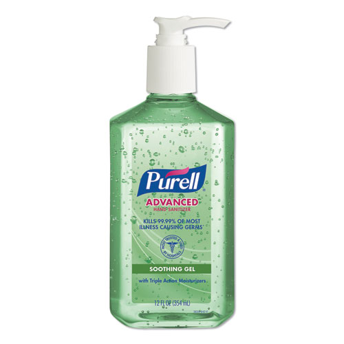 PURELL® Advanced Hand Sanitizer Soothing Gel, Fresh Scent with Aloe and Vitamin E, 1 L Pump Bottle, 4/Carton