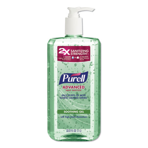 PURELL® Advanced Soothing Gel Hand Sanitizer, Fresh Scent with Aloe and Vitamin E, 1 L Pump Bottle