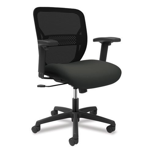 Gateway Mid-Back Task Chair with Arms, Supports up to 250 lbs, Iron Ore Seat, Black Back, Black Base