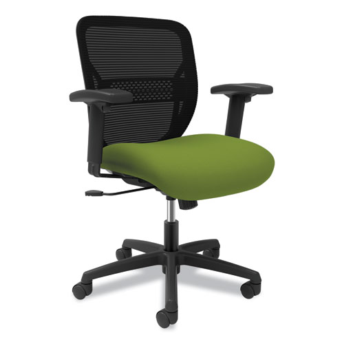 Gateway Mid-Back Task Chair with Arms, Supports up to 250 lbs, Pear Seat, Black Back, Black Base