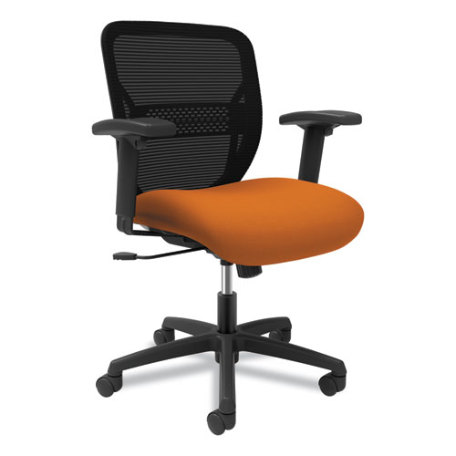 Gateway Mid-Back Task Chair with Arms, Supports up to 250 lbs, Apricot Seat, Black Back, Black Base