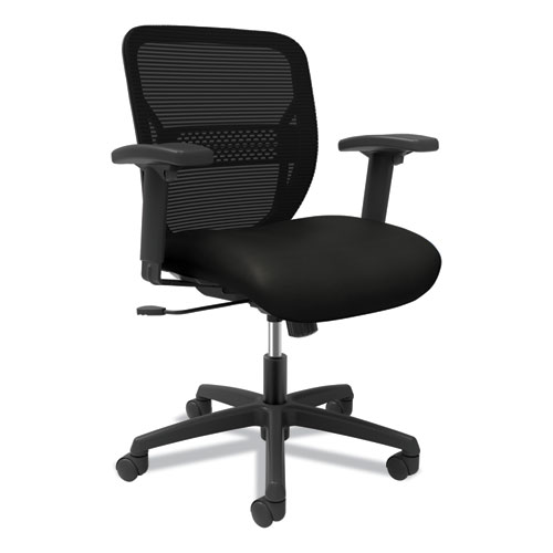 Gateway Mid-Back Task Chair with Arms, Supports up to 250 lbs, Vinyl, Black Seat, Black Back, Black Base