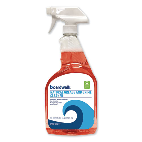 Boardwalk Green Natural Grease and Grime Cleaner, 32 oz Spray Bottle, 12/Carton