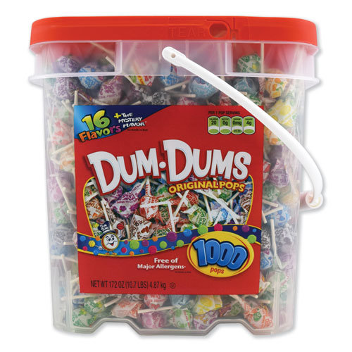 Spangler® Dum-Dum-Pops, Assorted Flavors, Individually Wrapped, Bulk 30 lb Carton