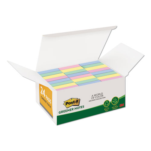 Recycled Note Pads, 1 3/8 x 1 7/8, Plain, Assorted Helsinki Colors, 100-Sheet, 24/Pack