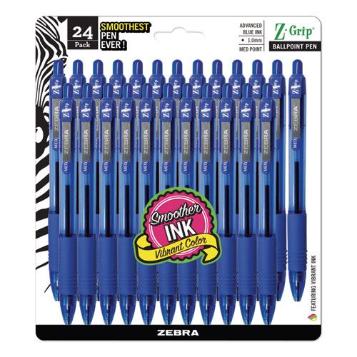 Z-Grip Retractable Ballpoint Pen, Medium 1mm, Blue Ink, Clear Barrel, 24/Pack