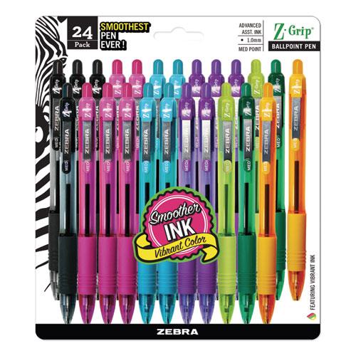 Z-Grip Retractable Ballpoint Pen, 1mm, Assorted Ink, Clear Barrel, 24/Pack