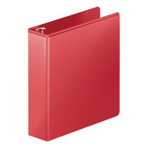 "Heavy-duty round ring view binder w/extra-durable hinge, 2"" cap, red, sold as 1 each"